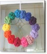 Crochet Rainbow Wreath Canvas Print