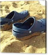 Crocs Shoes On Sandy Point Beach Canvas Print