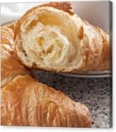 Croissants And Coffee Canvas Print