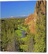 Crooked River And Mt Hood Oregon Canvas Print