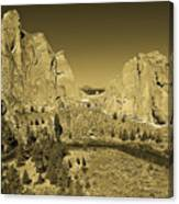 Crooked River At Smith Rock State Park Sepia Canvas Print