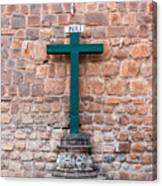 Cross And Cusco Cathedreal Canvas Print