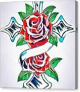 Cross And Roses Tattoo Canvas Print
