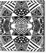 Crossroads To Ornamental - Abstract Black And White Graphic Drawing Canvas Print