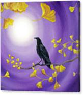 Crow In Ginkgo Leaves Canvas Print