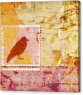 Crow In Orange And Pink Canvas Print