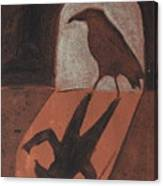 Crow In The Doorway Of Life With Woad Canvas Print