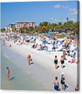 Crowd On A Summer Beach In Ft Meyers Florida Canvas Print