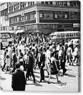 Crowded Street, Nyc, C.1960s Canvas Print