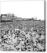 Crowds At Coney Island Beach Canvas Print