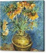 Crown Imperial Fritillaries In A Copper Vase Canvas Print