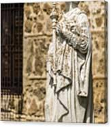 Crowned Statue - Toledo Spain Canvas Print