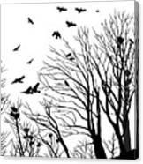 Crows Roost 2 - Black And White Canvas Print