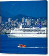 Cruise Ship In Vancouver Canvas Print
