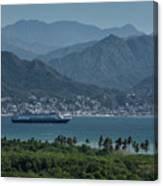 Cruise Ship Leaving Banderas Bay Puerto Vallarta Mexico With Sie Canvas Print