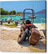 Crushed Tractor By The Sea On Island Prvic Canvas Print