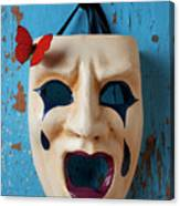 Crying Mask And Red Butterfly Canvas Print
