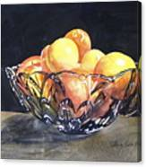 Crystal Bowl With Fruit Canvas Print