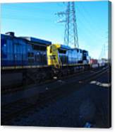Csx Engines Going Bye Bound Brook Train Stations Canvas Print