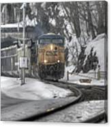 Csx Northbound At Mine Dock Road Highland Falls New York Canvas Print