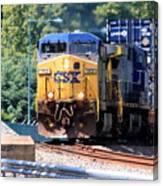 Csx Train Rounding The Bend Canvas Print