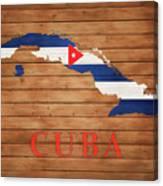 Cuba Rustic Map On Wood Canvas Print