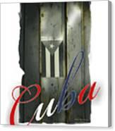 Cuban Flag On Door Canvas Print