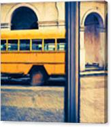Cuban School Bus And Driver Canvas Print