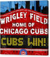 Cubs Win Wrigley Field Chicago Illinois Recycled Vintage License Plate Baseball Team Art Canvas Print