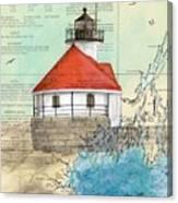 Cuckolds Lighthouse Me Nautical Chart Map Canvas Print