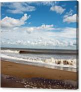 Cumulus Clouds Passing Across The Beach At Skegness Lincolnshire England Canvas Print