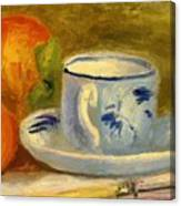 Cup And Oranges Canvas Print