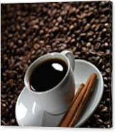 Cup Of Coffe On Coffee Beans Canvas Print