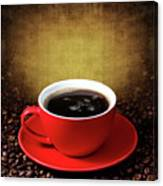 Cup Of Coffee On Grunge Textured Background Canvas Print