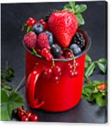 Cup Of Fresh Berries Canvas Print
