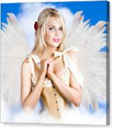 Cupid Angel Of Love Flying High With Fairy Wings Canvas Print