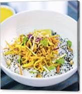 Curry Sauce Vegetable Salad With Noodles And Sesame Canvas Print