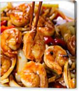 Curry Shrimp And Peppers On White Serving Plate Ready To Eat Canvas Print