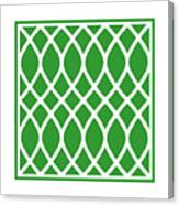 Curved Trellis With Border In Dublin Green Canvas Print