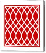 Curved Trellis With Border In Red Canvas Print