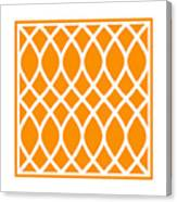 Curved Trellis With Border In Tangerine Canvas Print