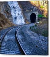 Curves On The Railways At The Entrance Of The Tunnel Canvas Print