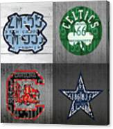Custom 4 Team License Plates Sport Art No 1 Canvas Print