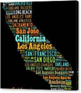 Custom Silhouette Art Print, Pop Art California Map, Modern Style Country Map, Country Maps For Home Canvas Print