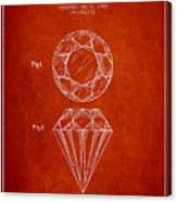 Cut Diamond Patent From 1873 - Red Canvas Print