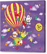 Cute Animals In Air Balloon Canvas Print