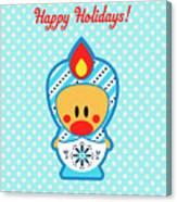 Cute Art - Blue Polka Dot Happy Holidays Folk Art Sweet Angel Bird In A Nesting Doll Costume Wall Art Print Canvas Print