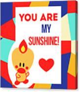 Cute Art - Sweet Angel Bird Multicolor Colorblock You Are My Sunshine Wall Art Print Canvas Print