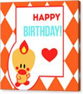Cute Art - Sweet Angel Bird Terra Cotta Happy Birthday Circus Diamond Pattern Wall Art Print Canvas Print