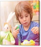 Cute Boy Enjoy Easter Holiday Canvas Print